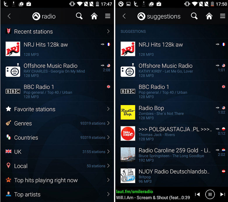 audials screenshot radio stations