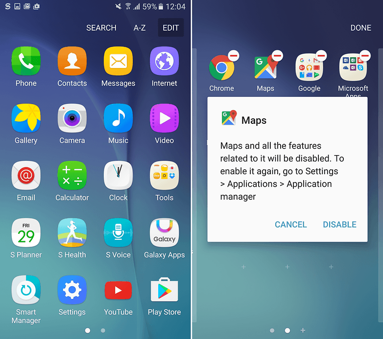 how to remove samsung preinstalled apps
