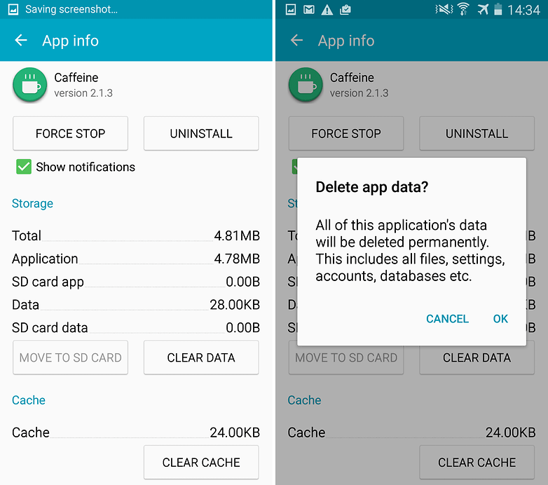 galaxy s4 delete app data