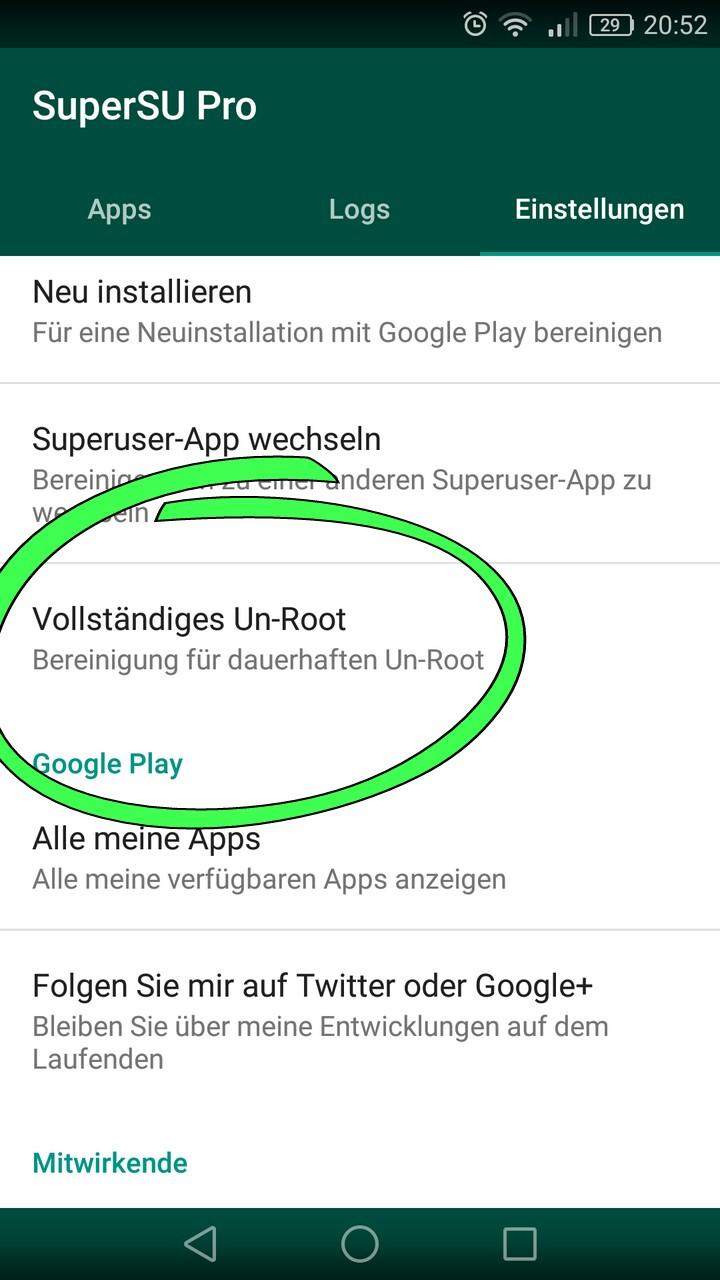 Root Entfernen