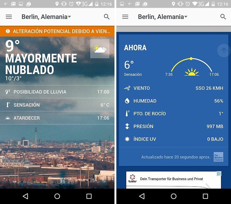 Las mejores aplicaciones y widgets del tiempo androidpit for Aplicacion del clima