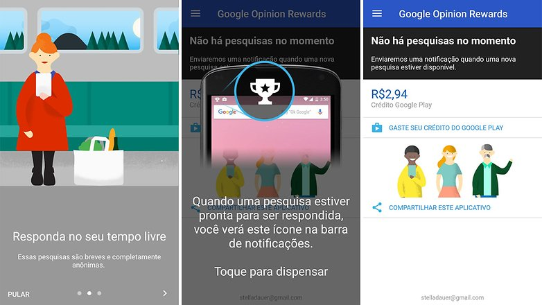 8ae763a8b Use o Opinion   © AndroidPIT (captura de tela) Google Opinion Rewards  Install on Google Play