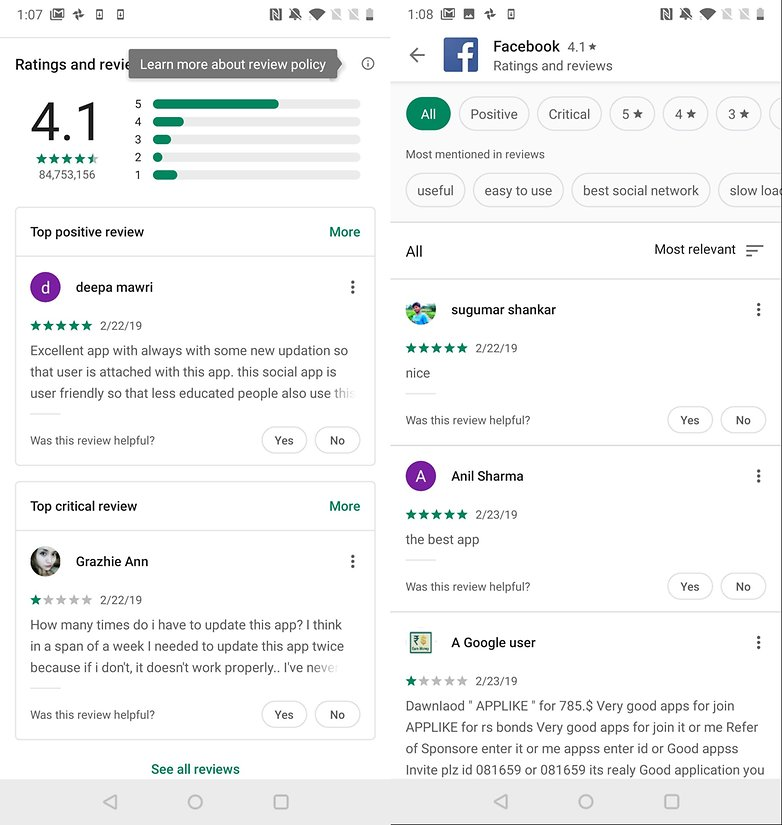 androidpit play store reviews