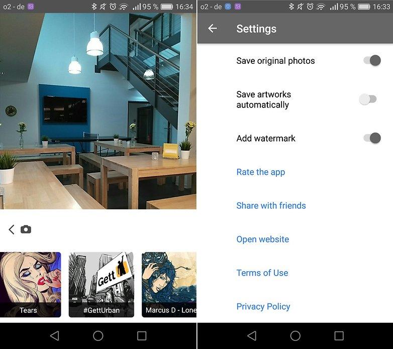 androidpit prisma screenshot menu parametres