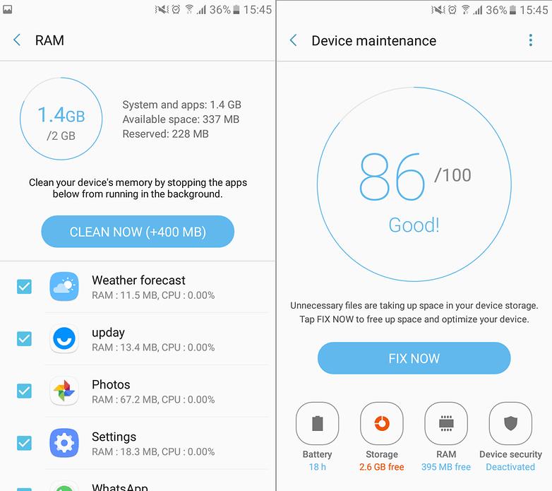 device maintenance samsung galaxy a3 2017