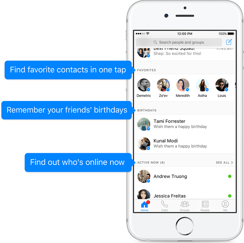 facebook messenger new version contacts
