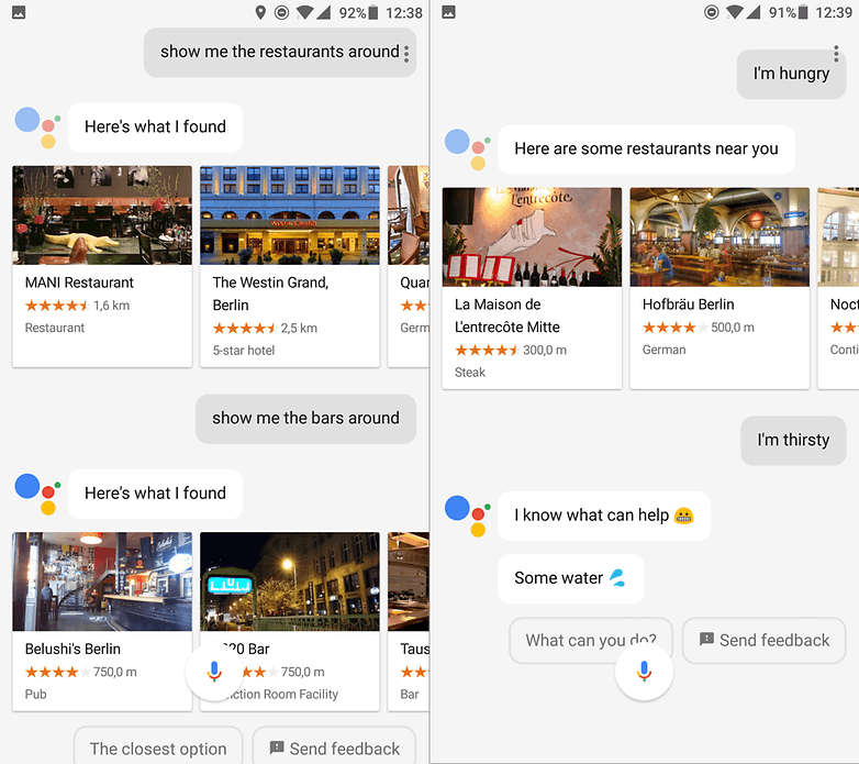google assistants restaurants bar