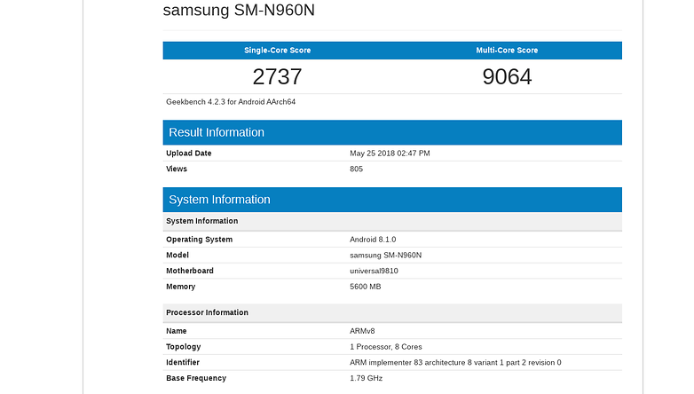 samsung galaxy note9 geekbench2