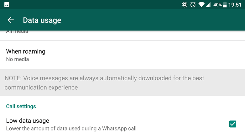 whatsapp low data usage