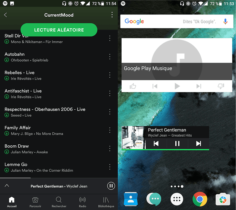 widgets spotify google play musique