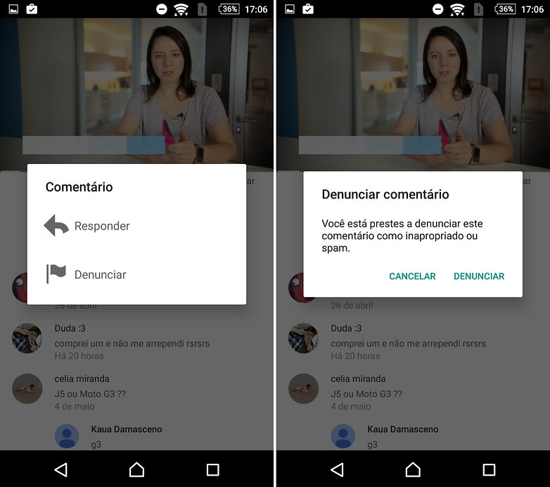 androidpit youtube denunciar comentario