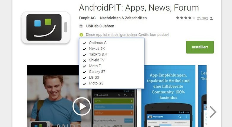 ANDROIDPIT google play store device list installation after