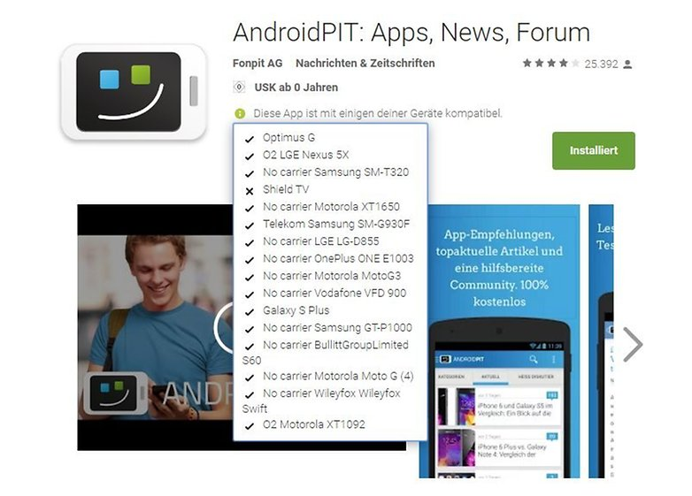 ANDROIDPIT google play store device list installation