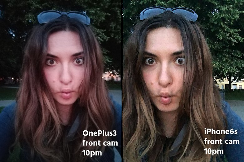 AndroidPIT OnePlus3 vs iPhone 6s front cam night