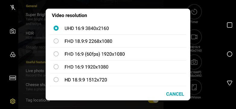 lg g7 video resolutions