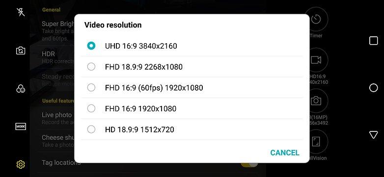 andoridpit hdr video settings screenshot
