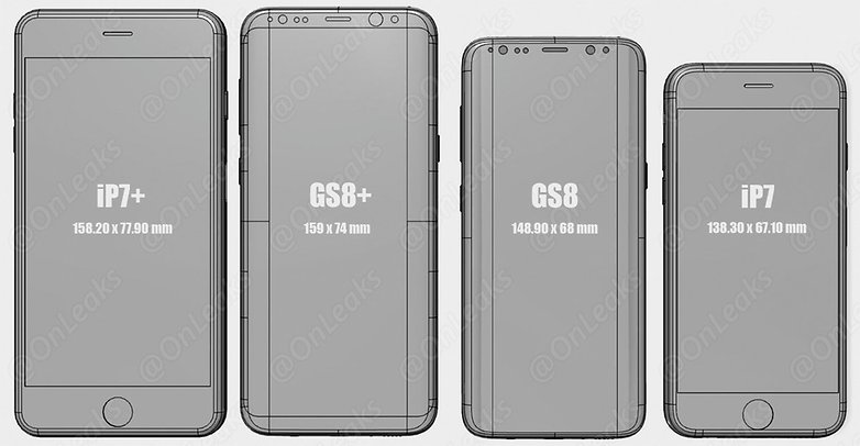 onleaks s8 size comparison 2