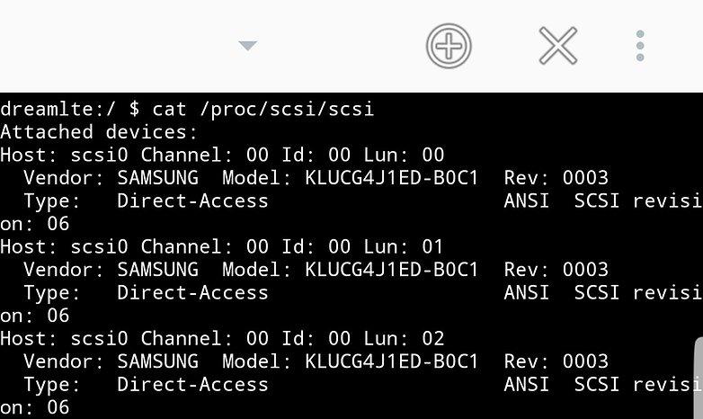 samsung galaxy s8 terminal output