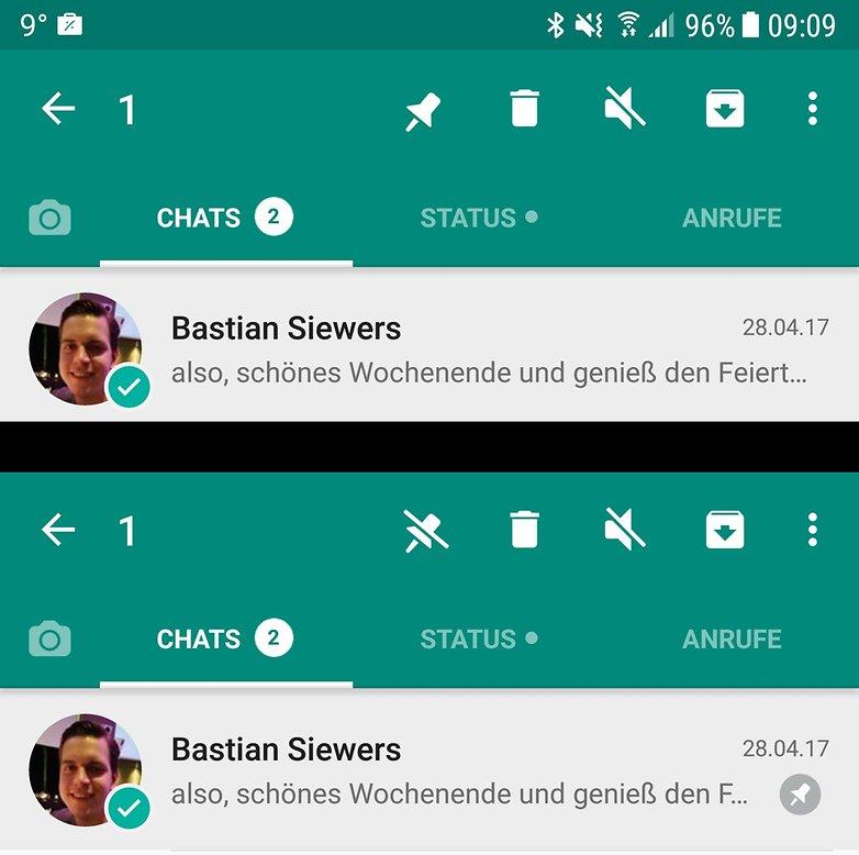 whatsapp conversation pinning