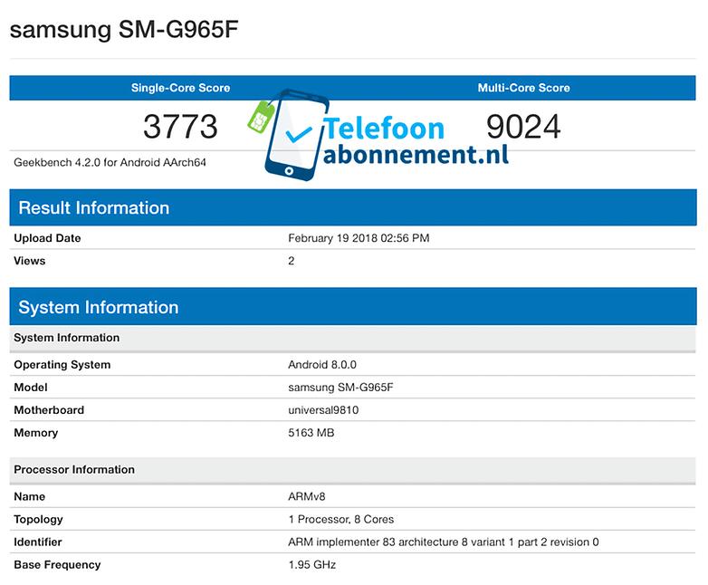 Geekbench Samsung Galaxy S9 Plus Exynos 9810 Telefoonabonnement.nl