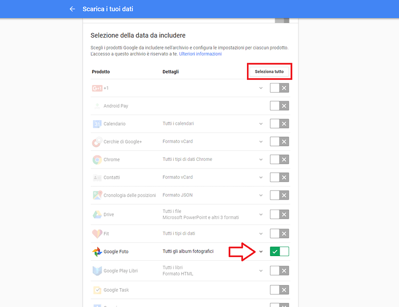 Google takeout screenshot 1 giusto