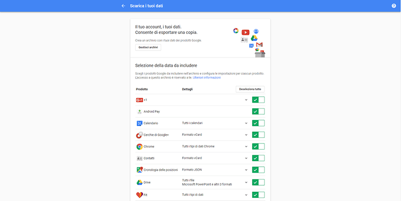 Google takeout screenshot