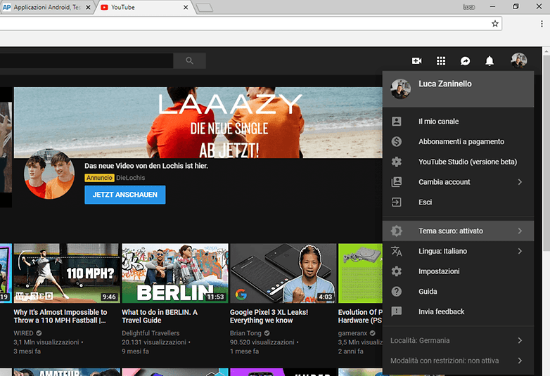 youtube dark mode desktop