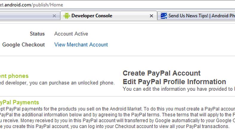PayPal kommt für Google Market - sagt zumindest ein Back-End Screenshot