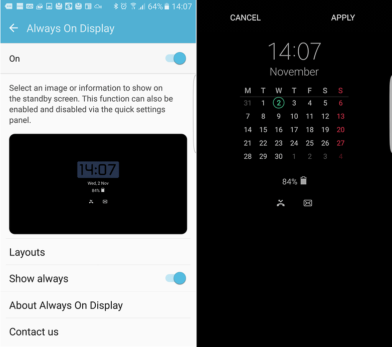 androidpit s7 alwaysondisplay
