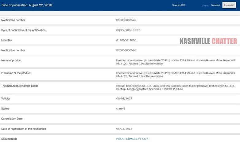 Huawei Mate 20 Pro eec certification