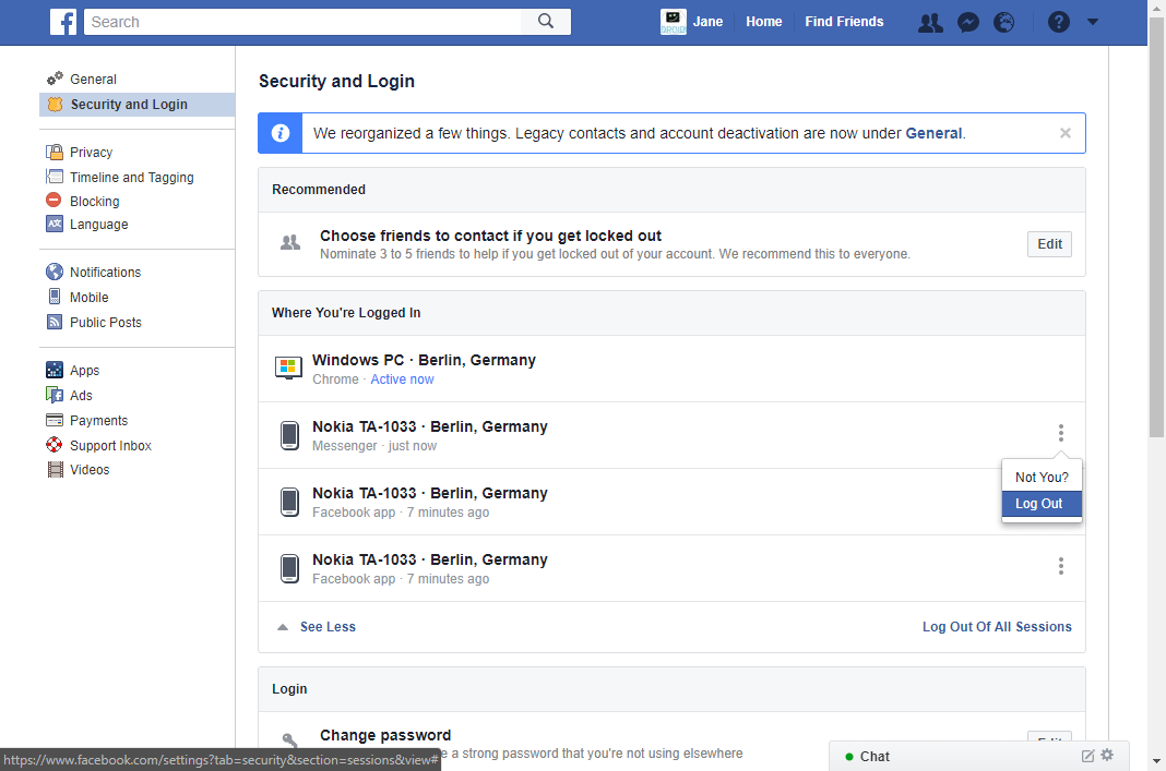 log all devices out of facebook