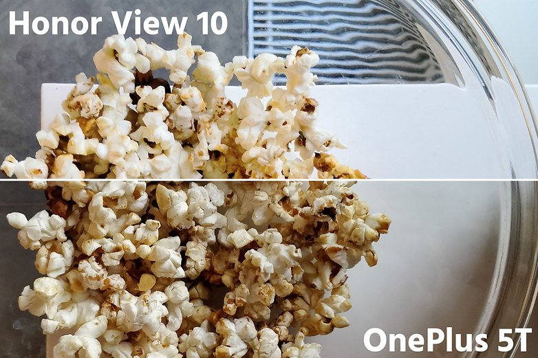 AndroidPIT oneplus 5t vs honor view 10 popcorn detail