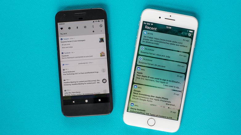 betas android o vs ios 11 notifications