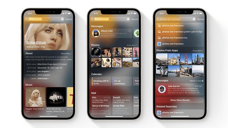 apple ios 15 spotlight search