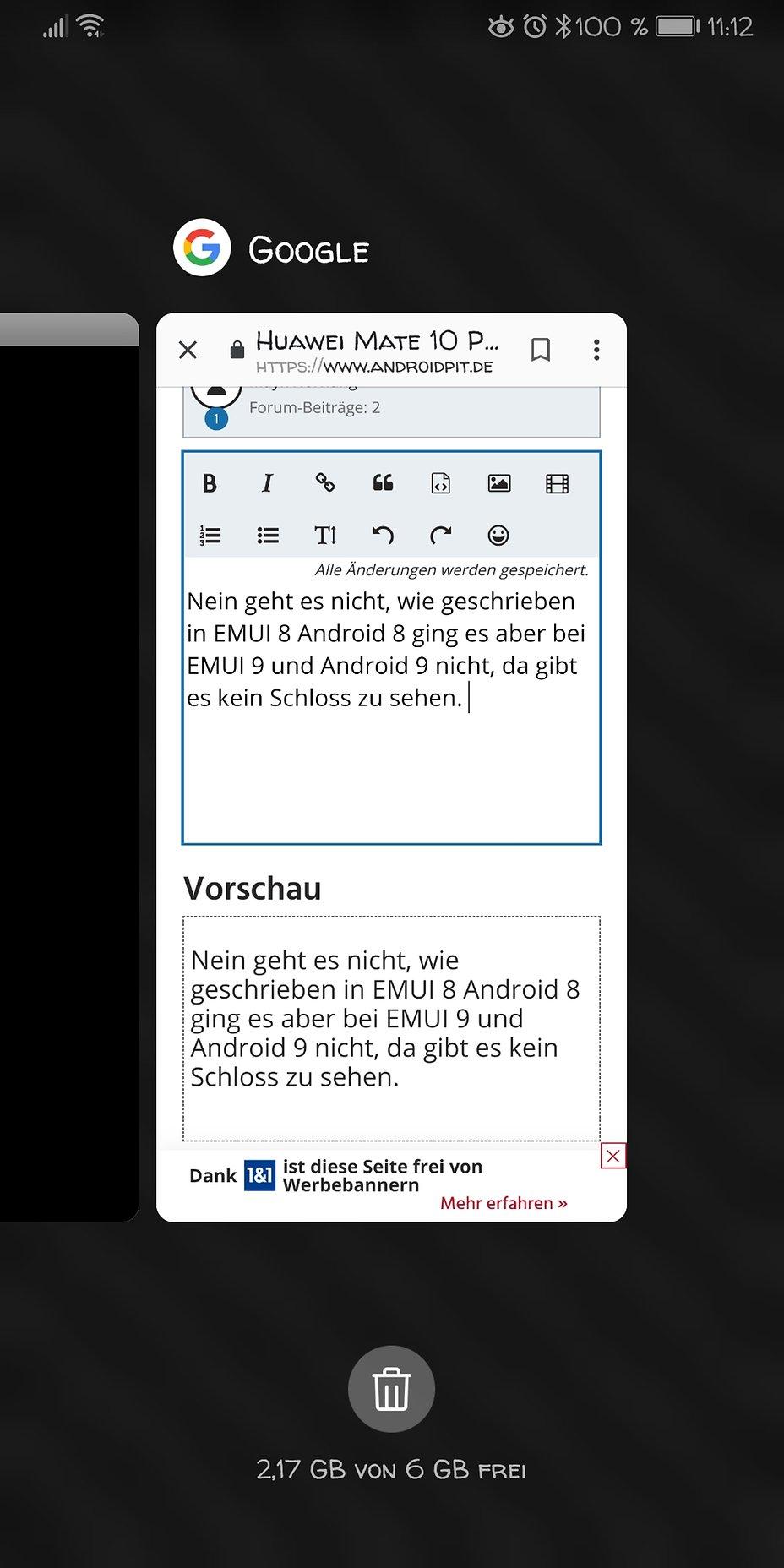 Huawei Mate 10 Pro — Task Manager, Apps geöffnet lassen