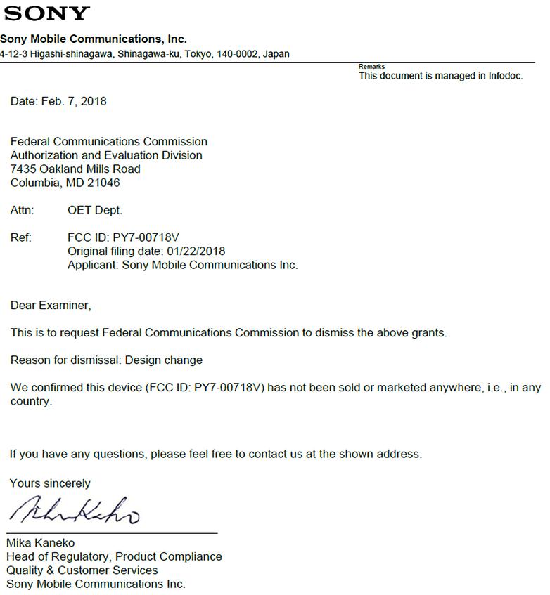 Sony Xperia Dismissal