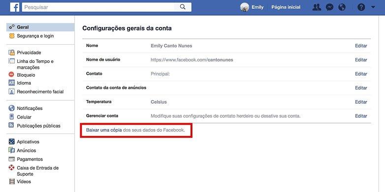 deletar facebook baixar copia