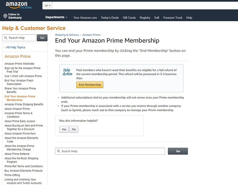 how to cancel your amazon prime membership androidpit. Black Bedroom Furniture Sets. Home Design Ideas