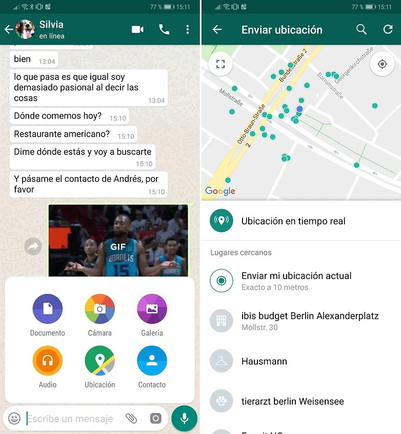 whatsapp share location contact spanish