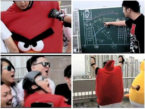 Angry Birds catapulta humano