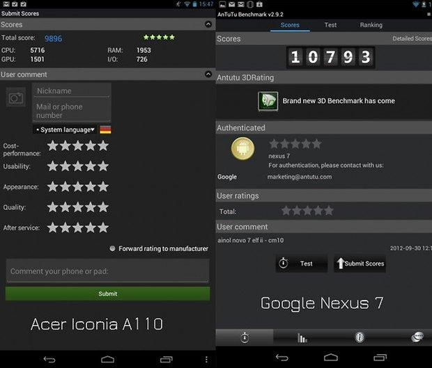 Acer Iconia Tab A110 hace temblar al Nexus 7 en el ...