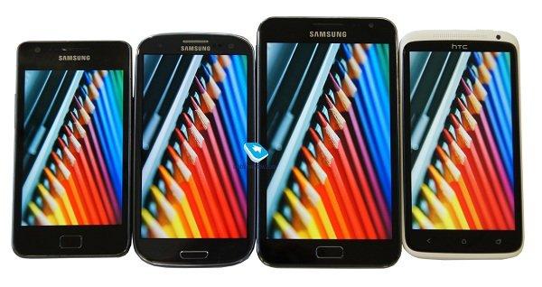 comparacion pantalla Samsung Galaxy S2 vs S3 vs Note vs HTC One X