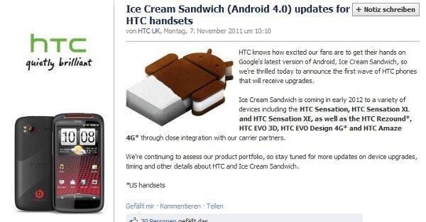 Actualizacion Ice Cream Sandwich HTC Evo 3D Sensation XL XE Amaze 4G Evo Design 4G Vivid
