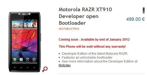 Motorola Developers edition desarrolladores edicion RAZR