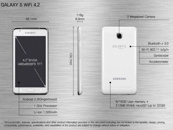 Samsung GALAXY S WiFi 4.2 caracteristicas especificaciones