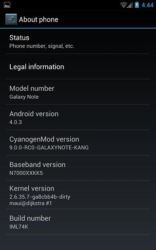 CyanogenMod Samsung Galaxy Note