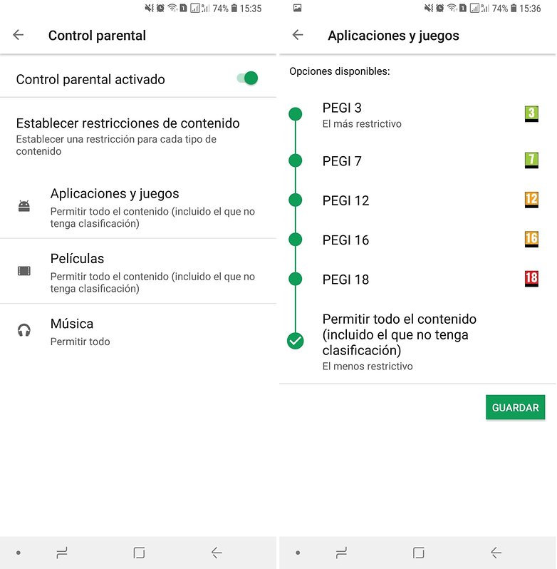 control.parental play store