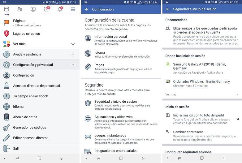 logout facebook messenger spanish
