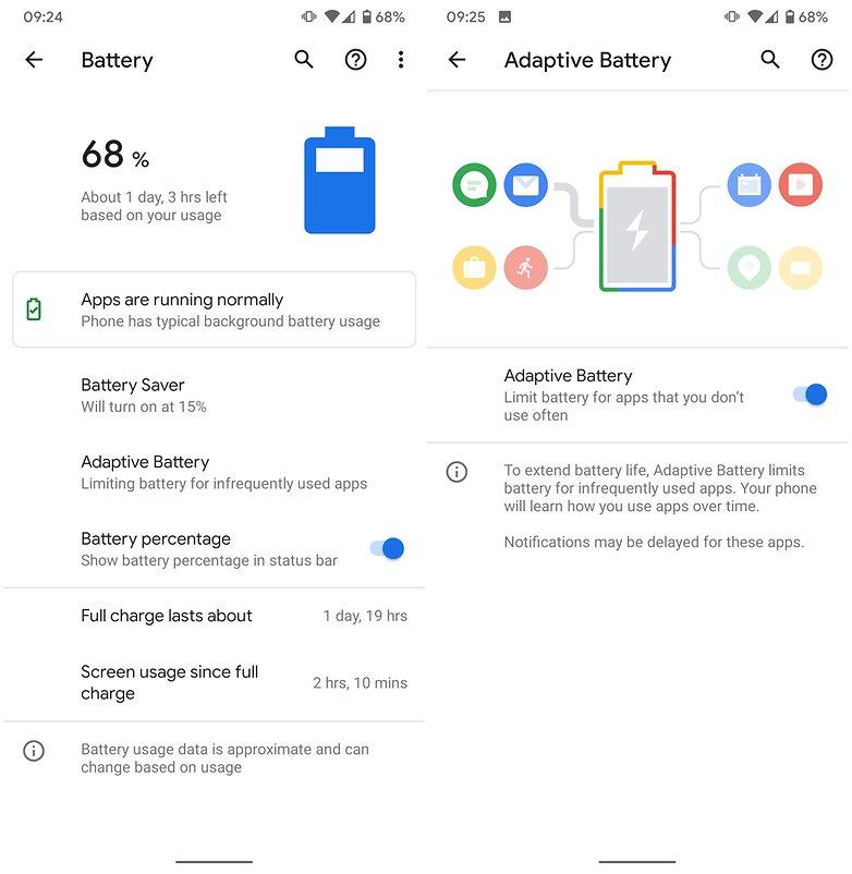 एंड्रॉइड 10 अनुकूली बैटरी