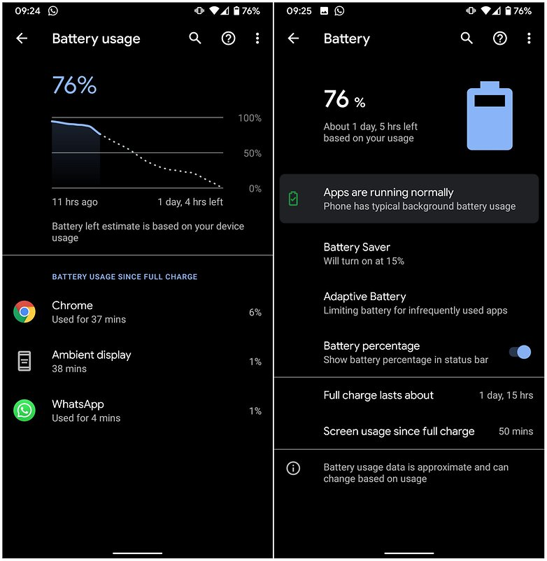 android 10 battery menu